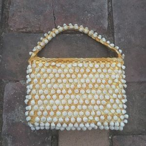 Mini vintage shell and crochet purse
